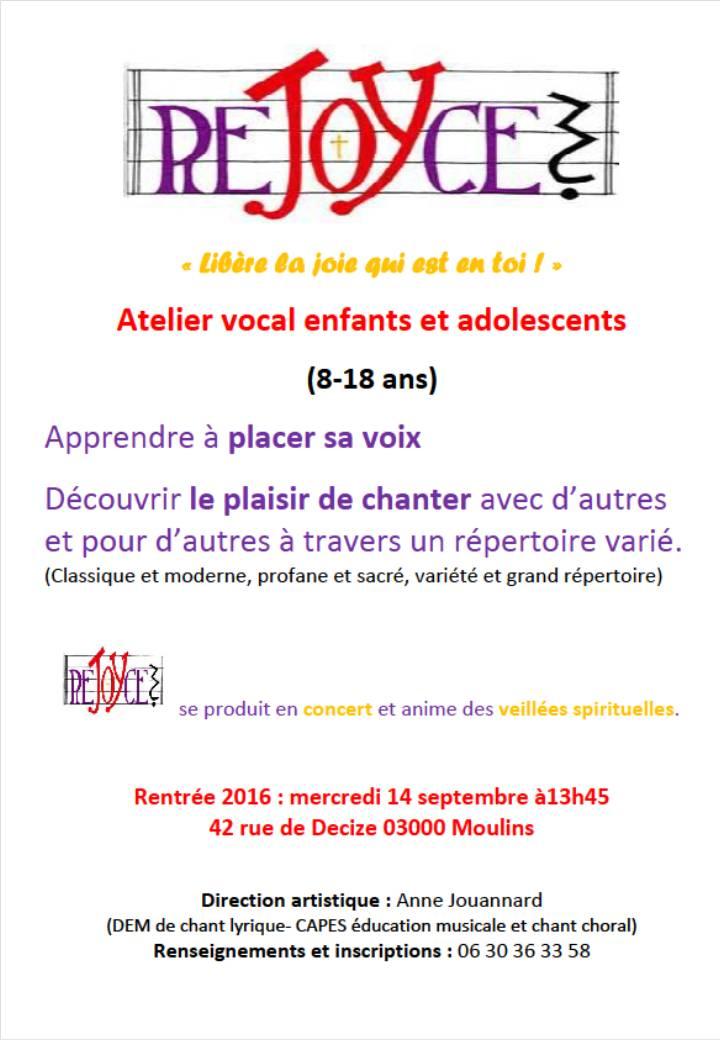 """A Moulins, un atelier vocal pour les enfants et les adolescents : """"Rejoyce"""""""