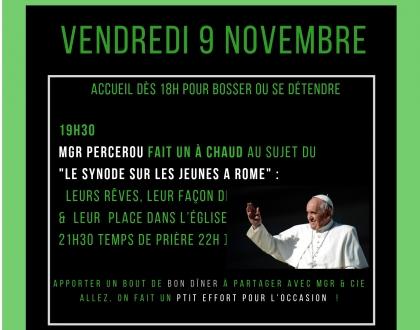 """Mgr Percerou vient nous raconter """"le synode sur les jeunes"""" auquel il a participé pdt 3 semaines à Rome en oct 2018"""